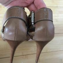 Michael Kors Heels Open Toe leather tan nude size 9.5 EUC image 6
