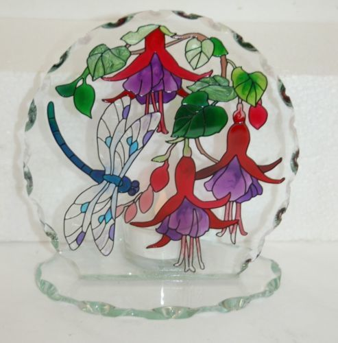 Joan Baker Designs Dragonfly Fuchsia Glass HandPainted Candle Holder