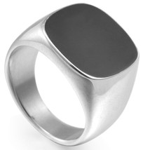 Size 5 16 Stainless Steel Signet Enamel Wedding Engagement Ring Cocktail... - $14.62