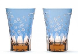 Tumbler Edo Kiriko glass Japanese Beer Sake cup Sakura Cherry set of 2 - $201.80