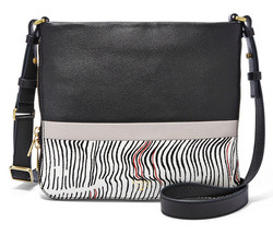 FOSSIL® all Leather Crossbody Bag- Black Multi - $139.90