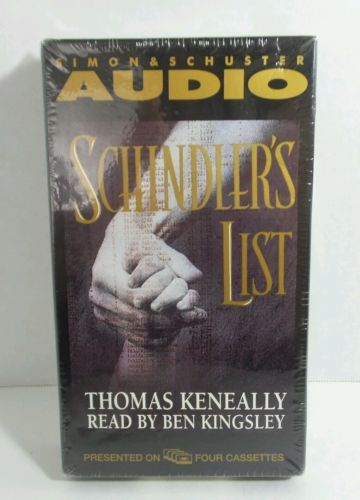 NEW - SEALED Schindler's List by Thomas Keneally (1993, 4  Cassettes) Jews Nazis
