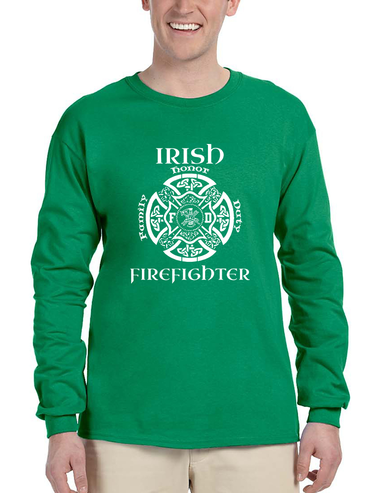 Primary image for Men's Long Sleeve Irish Firefighter St Patrick's Patry Irish Tee