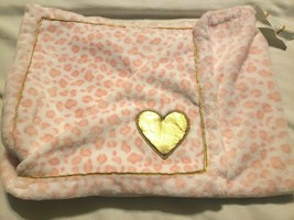 Just Born Pink White Leopard Cheetah Plush Fleece Baby Girl Blanket Gold... - $24.73