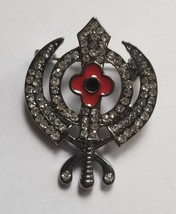 Stunning Diamonte Black Gun Metal SIKH Khanda Poppy Rememberance Day Bro... - $8.87