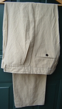 Polo Ralph Lauren Blue Label Men's Pleated Pants LINEN/SILK 36 Beige Solid New - $149.75