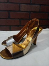 Via Spiga Femmes Bronze Or Bout Ouvert Cuir Aiguille Pompe Talon Chaussures 9 M - $51.02