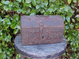 SMALL EUROPEAN 17th CENTURY STRAP IRON OVER WOOD TREASURE CHEST ARTIFACT... - $3,250.00