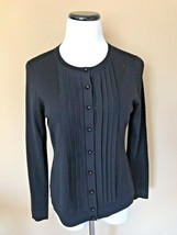 Talbots Merino Wool LS Button Front Pleated Front Cardigan Sweater Medium petite - $25.73