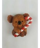 Hallmark Christmas Refrigerator Magnet Koala Bear holding Candy Cane Brown - $9.65