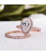 Pear Moissanite Engagement Ring 14K Rose Gold Unique Wedding Ring Set - $829.00