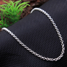 Handmade Jewelry silver Link Chain heavy Necklace Solid 925 Sterling Sil... - $18.99