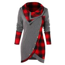 Womail 2018 Blouse Women Long Sleeve Irregular Hem Plaid Button Turtlene... - $14.99