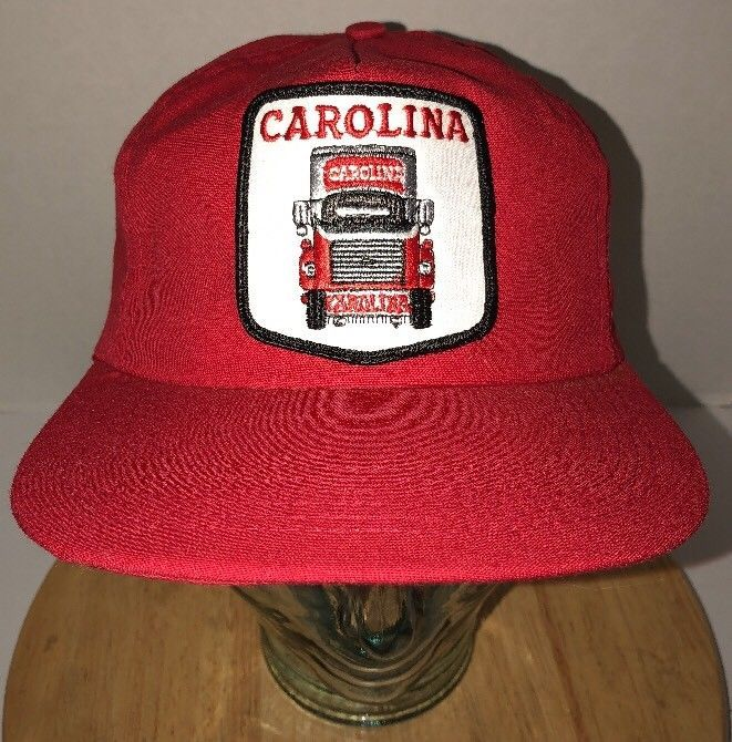 069b57e8 S l1600. S l1600. Previous. Vintage CAROLINA 80s Red TRUCKING Hat Cap  Snapback Made in USA Freight Transport. Vintage ...