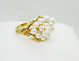 Estate 18k Yellow Gold Pearl and Diamond Cluster Ring, AAA Pearls - $825.00