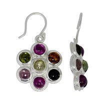 Round Flower Multi Tourmaline Gemstone 925 Sterling Silver Earring SHER0156 - $38.30