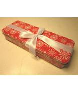 "Christmas Red White Snowflake Metal Gift Box 8.8"" Long, 3.2"" Wide, 1.5"" ... - $1.56"
