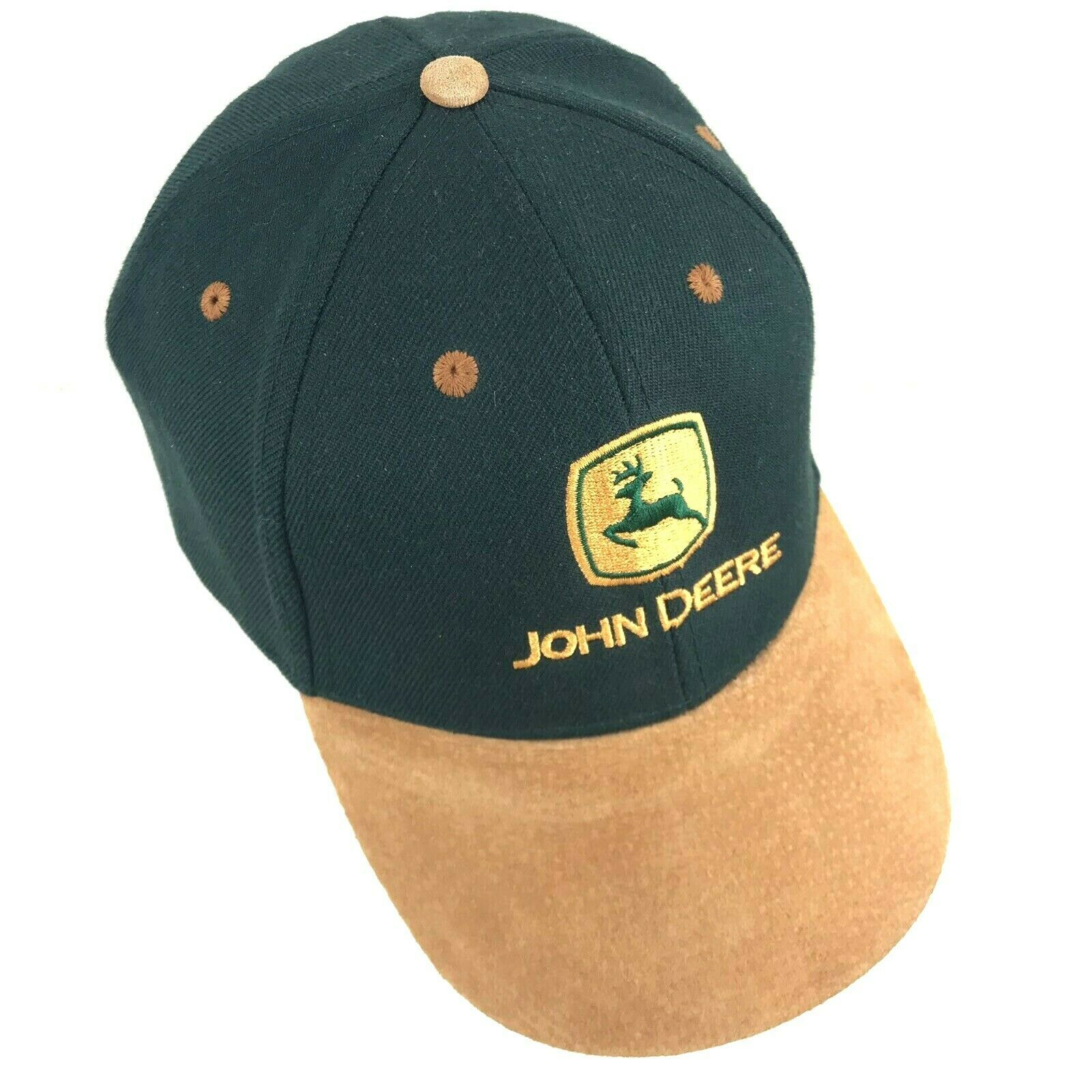 da138aec John Deere Cap Hat Green and Gold With Suede Bill Adjustable One Size -  $19.80
