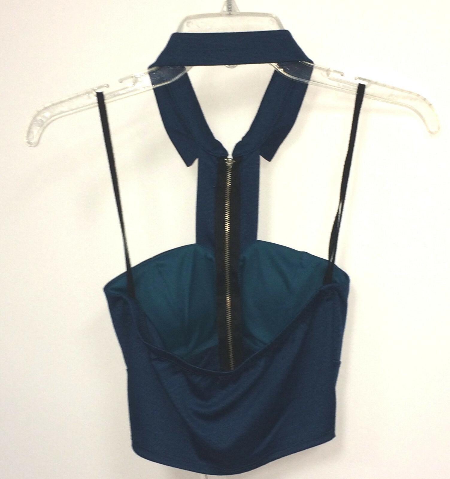 NEW B Envied Blue Cut Out Zipper Collar Sleeveless Padded Bra Cup Crop Top
