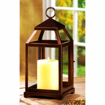 "Bronze Contemporary Candle Lantern 12"" H - $25.75"