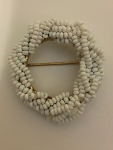 Vintage signed Miriam Haskell round beaded pin 1 1/4 inch  - $19.75