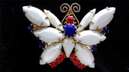 Vintage Juliana Delizza & Elster Red White Blue Rhinestone Butterfly Brooch - $85.00