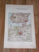 1924 ORIGINAL VINTAGE MAP OF VICINITY OF MADRID / SPAIN / LISBON PORTUGAL - $13.46