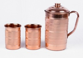 Copper Water 1 Pitcher jug & 2 Glasses Set For Drinking Water Indian Ayu... - $26.63