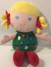 Prestige Baby doll blonde Christmas lights dress red green small plush soft - $4.94