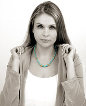 Gold turquoise necklace,gold necklace,beaded necklace,hand knotted necklace - $84.00+
