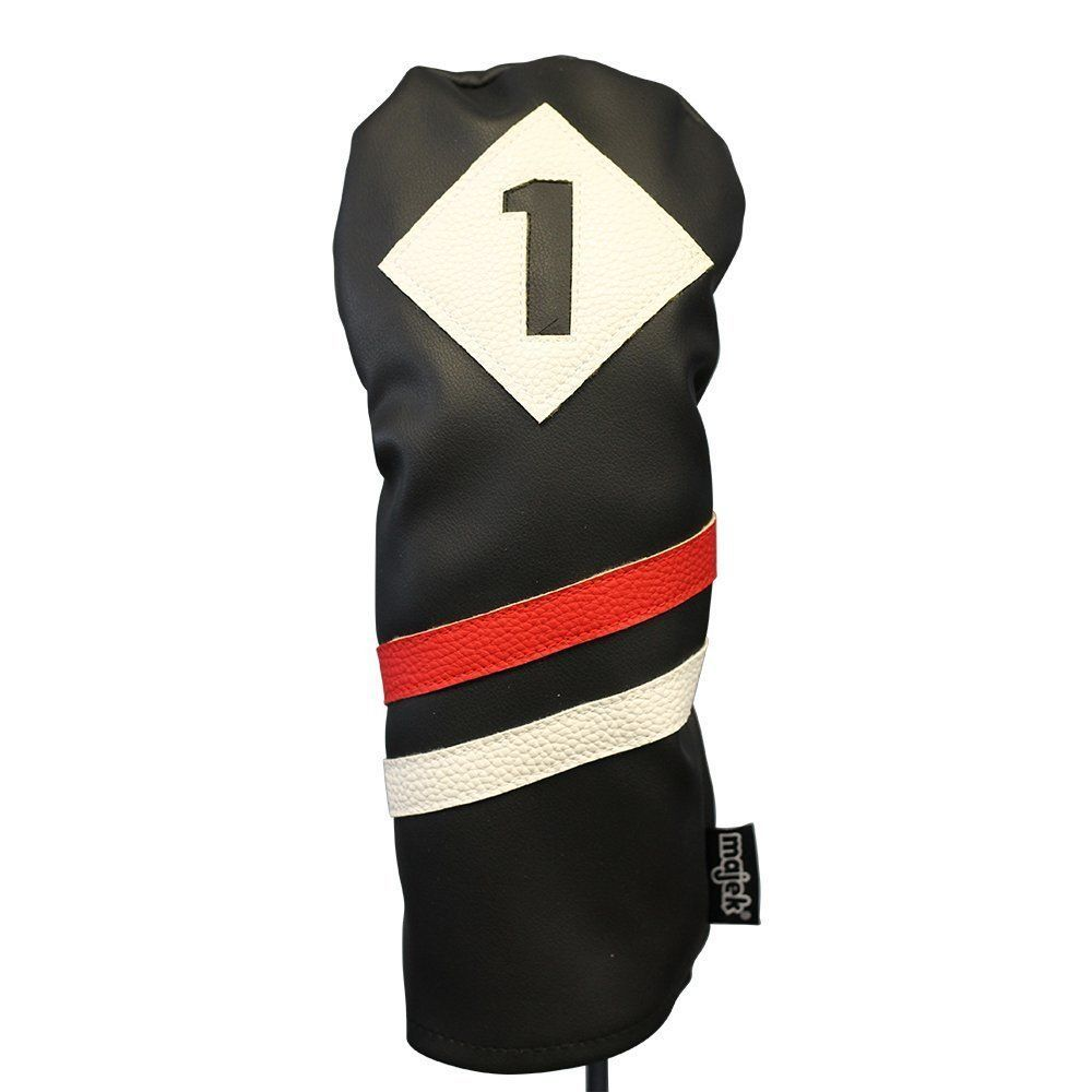 Majek Retro Golf 1 & 5 Driver & Wood Headcover Black Red White Leather Style