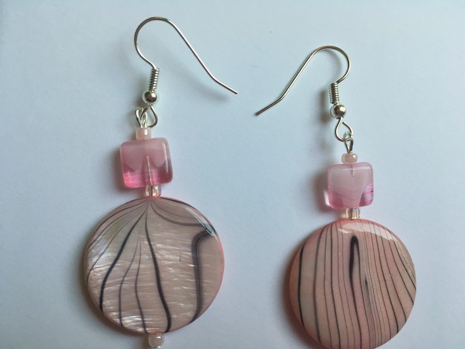 Pink Striped Disc Dangle Hook Earrings, Silver Plate, Drop Earrings, Gift Idea