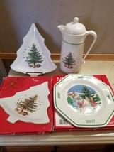 Nikko Christmas Bundle: Candy Dish, 2007 Collectible Plate, Thermal Carafe - $29.99