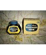 WATERMAN'S INK Vintage Blue Black Fountain Pen Fluid Bottle Box Contents USA - $18.99