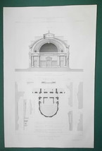 1872 ARCHITECTURE PRINT - Lyon Veterinary School Auditorium Section Plan... - $26.96