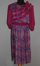 VTG JOI LEE Ruffle Purp Pink Grn Pleated Gypsy Boho Dress Scarf Ws M/L M... - $49.99