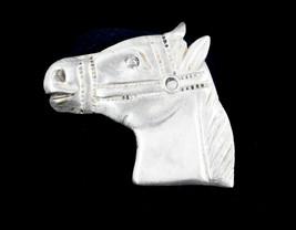 Vintage Huge Heavy Sterling Silver 925 Bridled Horse Head Brooch Pin Han... - $67.49