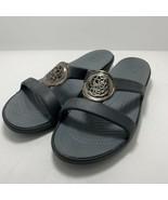 Crocs Sanrah Sandals Slides Flip Flops Womens 10 Black Gray Silver Medallion - $24.72