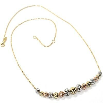Primary image for Gold Necklace 750 18K, Yellow White Pink, Spheres Faceted, Alternate