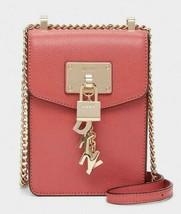 DKNY  NWT $148 Elissa Blush Pink Pebble Leather Charm Chain Strap Crossbody - $77.22