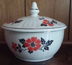"Hall Superior Quality Kitchenware Red Poppy Jewel 5 1/4"" Covered Cassero... - $16.82"
