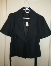 THE LIMITED Belted Blazer, Metallic Black, Cotton Blend, Lined, Size M, NWT - $107.99