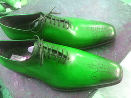 Shiny Green Burnished Medallion Toe Premium Leather Lace Up Men Oxford Shoes - $139.99+