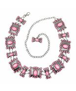 Western Women's Agate Stone Concho Large Chain Belt in 5 color (Pink) - $29.69