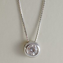 18K WHITE GOLD NECKLACE WITH DIAMOND 0.45 CARATS, VENETIAN CHAIN MADE IN ITALY image 1