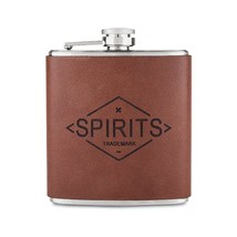 Drinking Flask, Genuine Leather Stainless Steel Lid Whiskey Alcohol Flas... - €22,65 EUR
