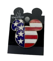 Mickey Mouse Ears Head Icon American Flag Red White Blue Stars Disney Pi... - $14.99