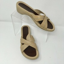 Ecco Slide Sandal, Size 8, Tan, Top Stitching - $19.85