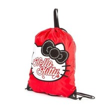 Hello Kitty Glitter and Crystal Drawstring Gym Shoulder Bag Red Black Bo... - $15.17