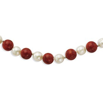 Primary image for Lex & Lu Sterling Silver FWC Pearl & Stabilized Red Coral Necklace 18""